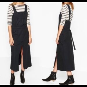 ZARA Lyocell Dungarees With Skirt Pinafore Dress
